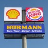 "Werbepylon ""Shell, Burgerking, Hörmann"" in Rutesheim"